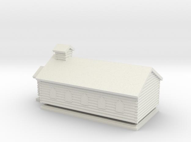 Log Church - Z scale in White Natural Versatile Plastic
