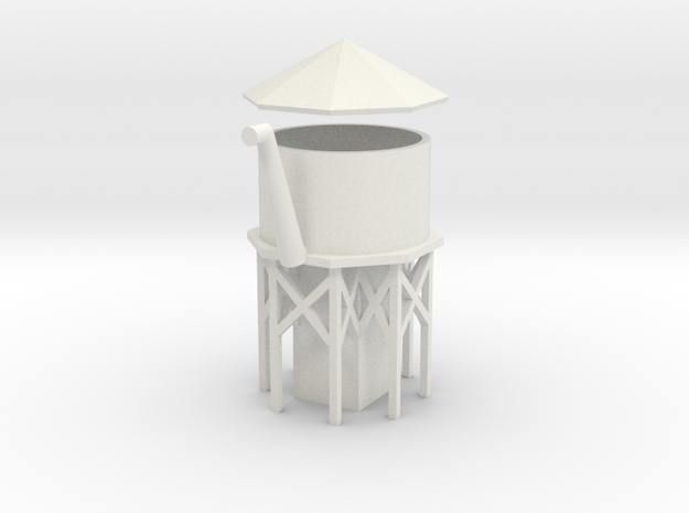 Water Tower - Z scale in White Natural Versatile Plastic