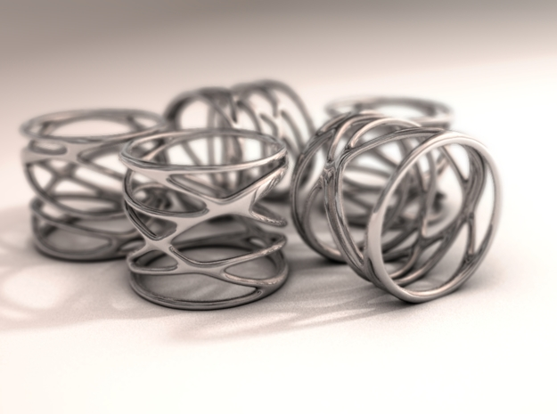 Ring - Mimas Seven in Rhodium Plated Brass