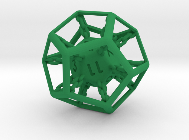 Chained die 12-sided 3d printed