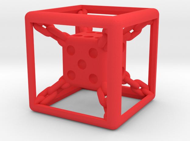 Chained die 6-sided 3d printed
