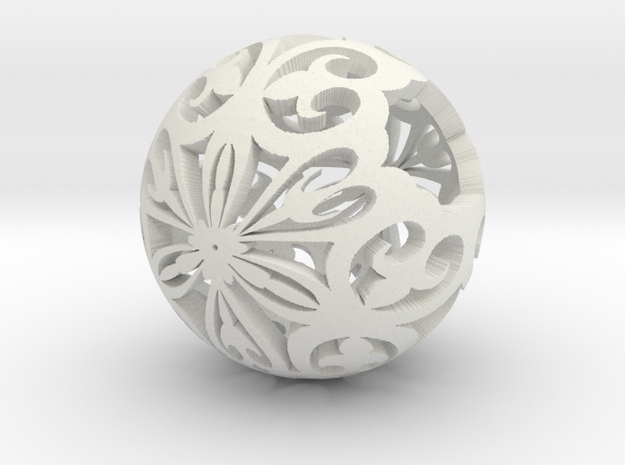 Moroccan Ball 7.1 small in White Natural Versatile Plastic