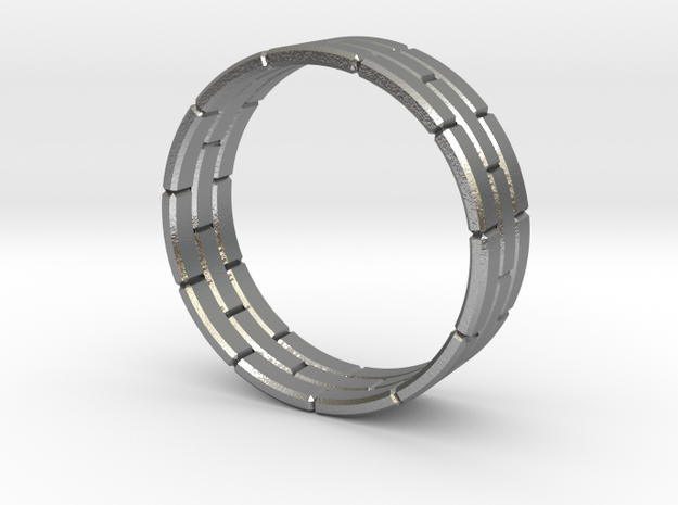 Brick Ring in Polished Silver