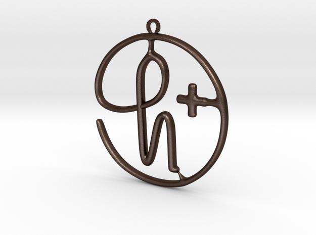 H+ Logo in Matte Bronze Steel