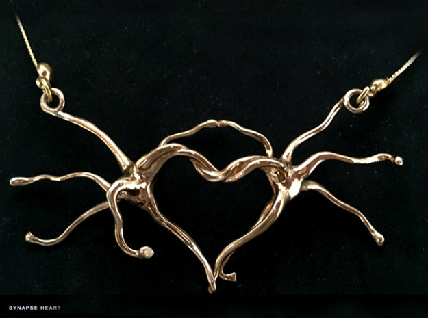 Synapse heart Pendant in Fine Detail Polished Silver