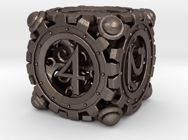 Steampunk D6 in Polished Bronzed Silver Steel