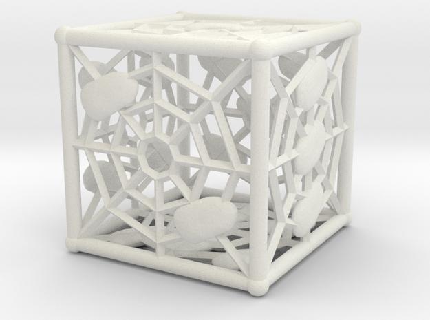 Webby die D6 (dice) in White Natural Versatile Plastic