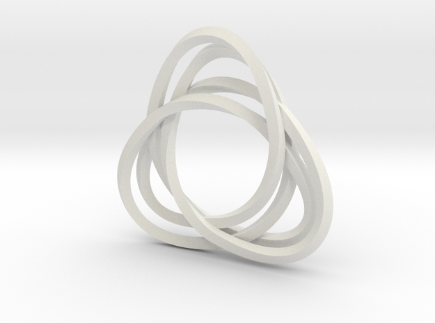 Tri mobius twin 2mm rail pendant in White Natural Versatile Plastic