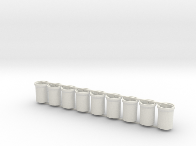 Concrete Pipes - 6 foot - Z scale in White Natural Versatile Plastic