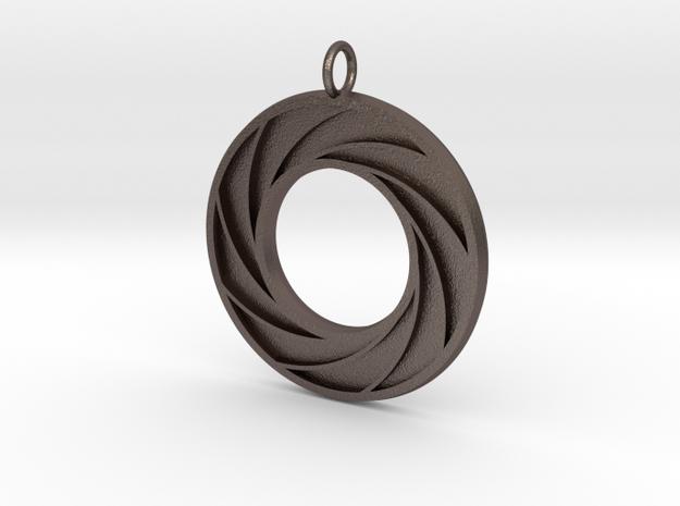 Swirl Pendant in Polished Bronzed Silver Steel