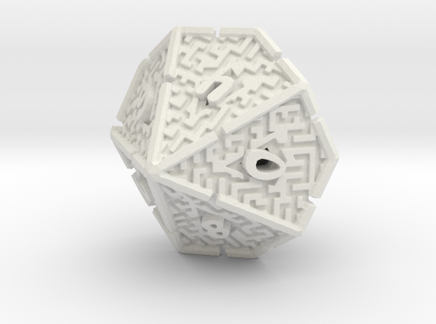 10 Sided Maze Die V2 in White Strong & Flexible