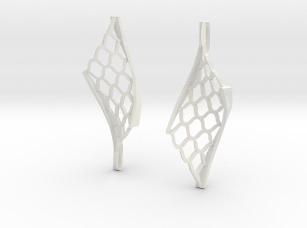 Twisted lattice girder earrings in White Natural Versatile Plastic