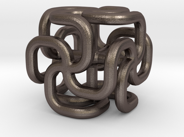 Steel spiral cross cube 3d printed