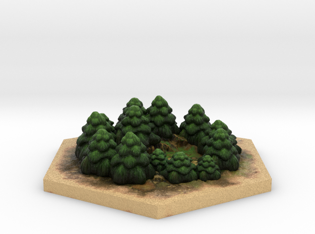 Catan_forest_hexagon 3d printed