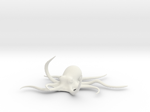 Octopus Figure in White Natural Versatile Plastic