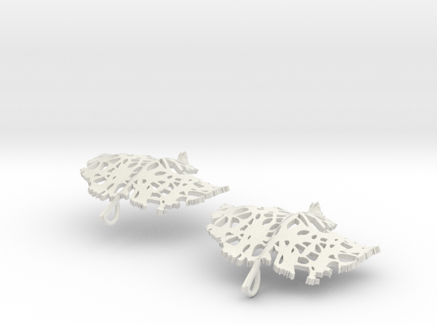 Pair of Leaflet Earings in White Strong & Flexible