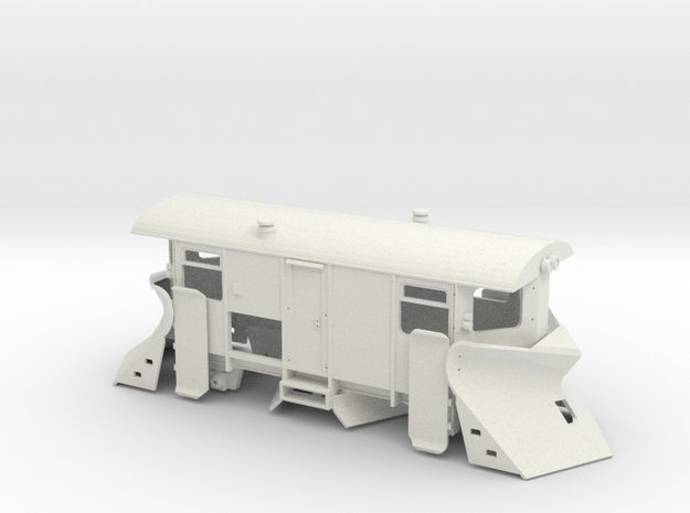 Schmalspur Schneepflug (Spur H0e) in White Natural Versatile Plastic