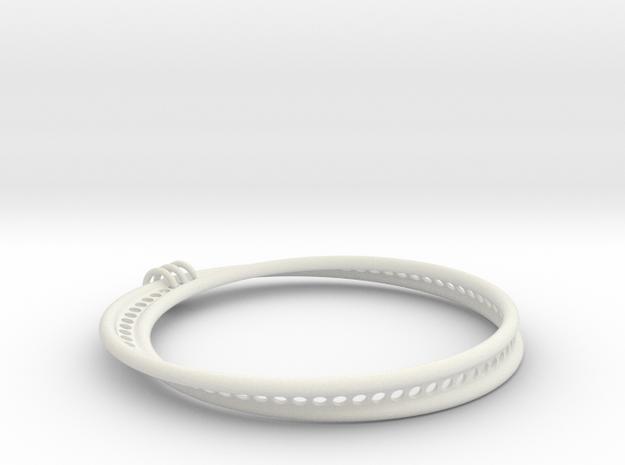Möbius Snake Bracelet (Large) in White Natural Versatile Plastic