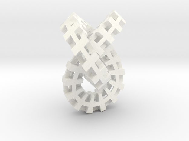 Escher knot small in White Processed Versatile Plastic
