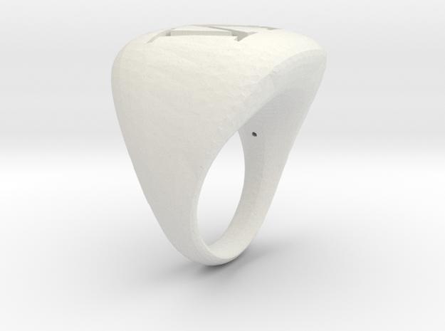 M_Initial RIng in White Natural Versatile Plastic