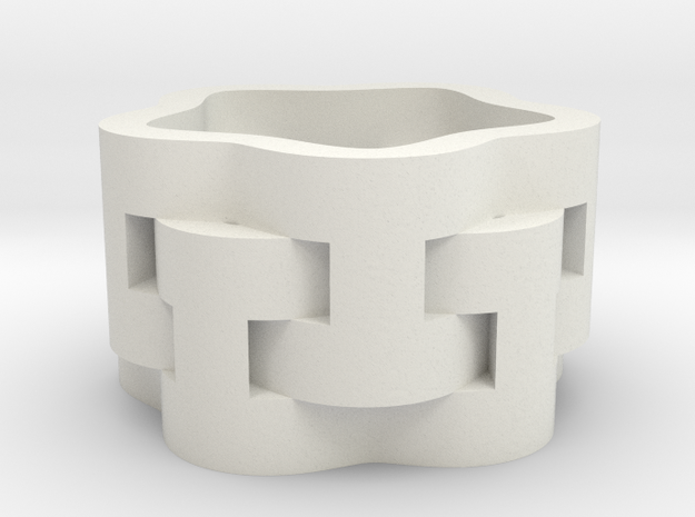 Interlaced Candle Ring in White Natural Versatile Plastic