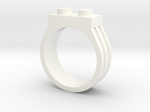 Brick Ring-2 Stud, Size 10 in White Processed Versatile Plastic