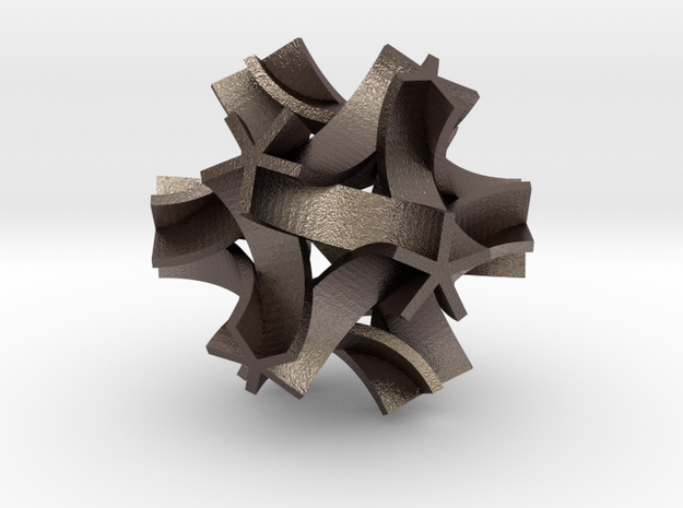 Origami I,  pendant in Polished Bronzed Silver Steel