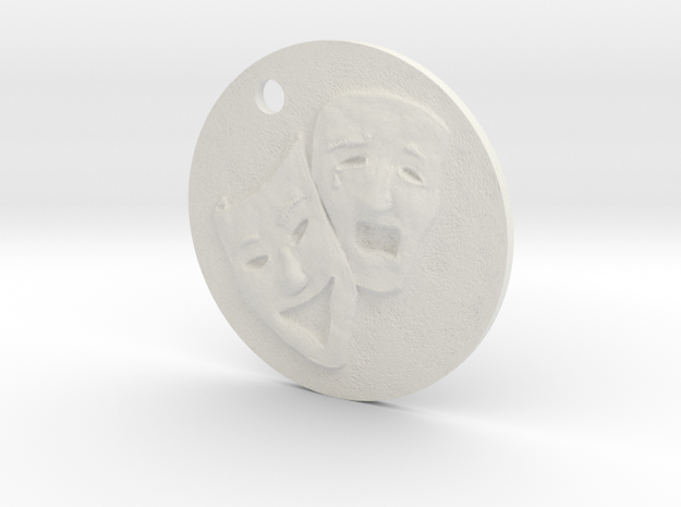 Tragedy Comedy Mask Pendant in White Natural Versatile Plastic
