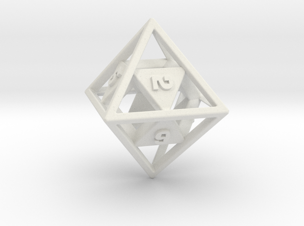 """Open"" d8 - Eight-sided die in White Natural Versatile Plastic"