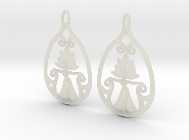 Art Nouveau Goddess of Progress Earrings 3d printed