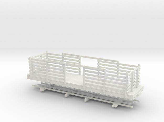 HOn30 28ft Flatcar with pulpwood rack  in White Natural Versatile Plastic