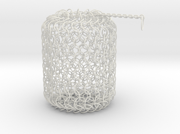 Large Chain Maille Dice Bag in White Natural Versatile Plastic