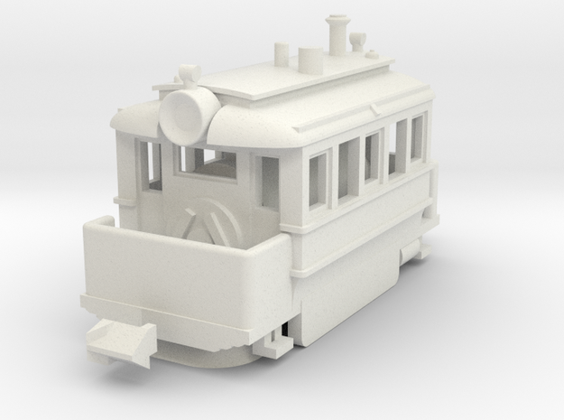 1001-2 Baldwin Steam Tram (Type A) 1:148 in White Strong & Flexible