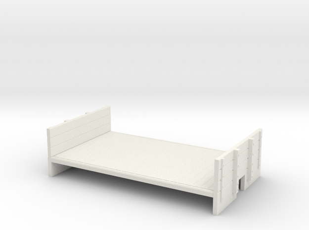 OO9 flat wagon with ends in White Natural Versatile Plastic