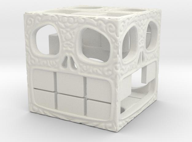 "Happy Skull Die 1"" in White Natural Versatile Plastic"