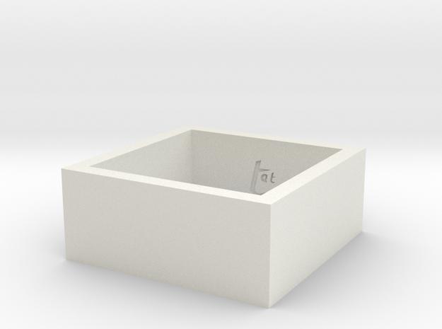 SquareRing 20mmx10mm in White Natural Versatile Plastic