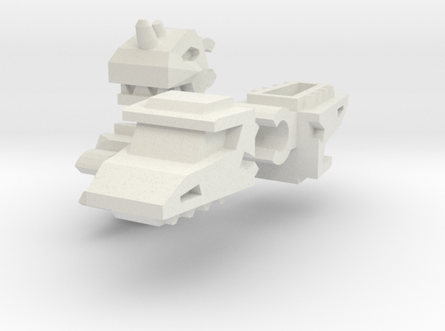 Double Robo Dragon Heads (3mm Clip) in White Natural Versatile Plastic
