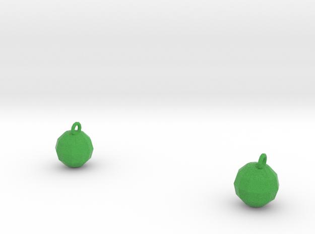 Xmas Ball Earrings green sandstone 3d printed