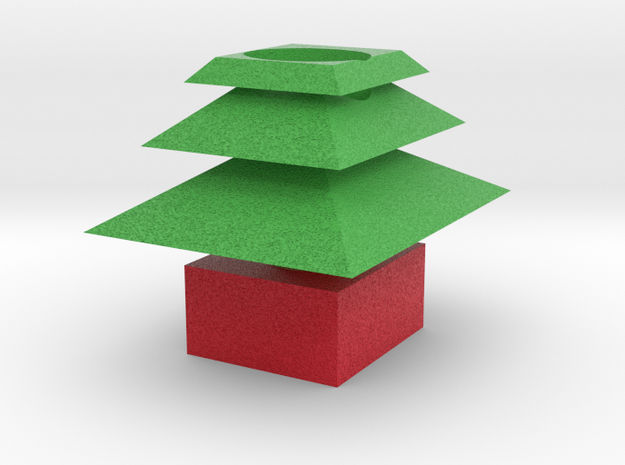 3d Xmas Tree Tealight Candle Holder 3d printed