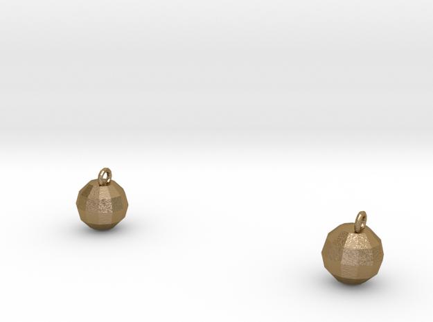 Xmas Ball Earrings gold 3d printed