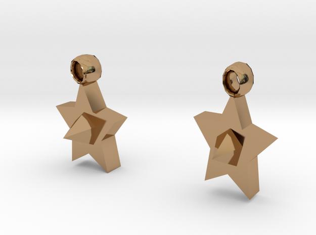 Star earrings in Polished Brass