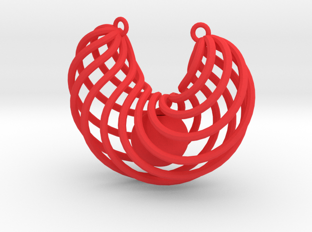 Pendant with captured bead in Red Processed Versatile Plastic