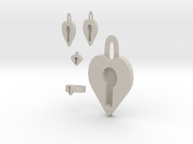 Lock Heart Jewelry Set 3d printed