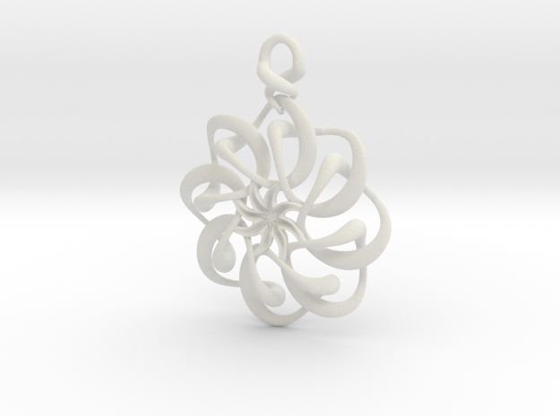 Twisted earring... or pendant in White Natural Versatile Plastic