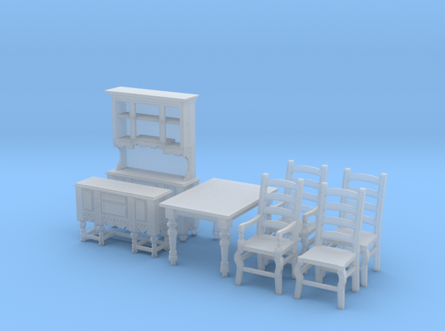 1:48 Farmhouse Dining Set in Smooth Fine Detail Plastic