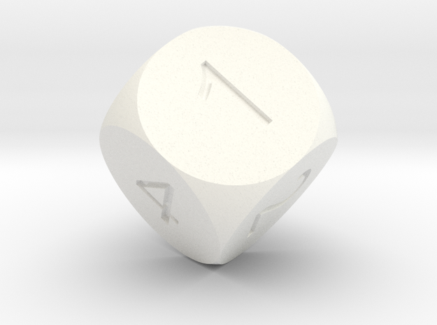 D6 Sphere Dice in White Processed Versatile Plastic