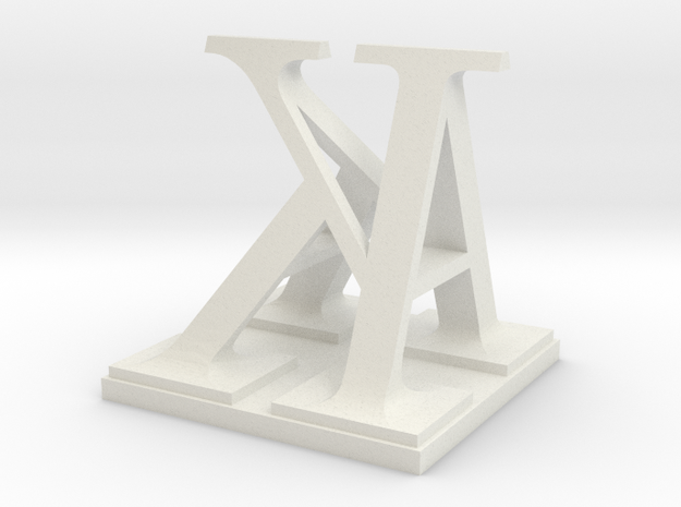 Two way letter / initial A&K in White Natural Versatile Plastic
