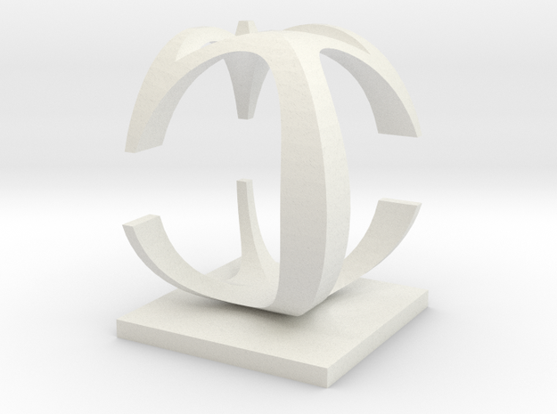 Two way letter / initial C&C in White Natural Versatile Plastic