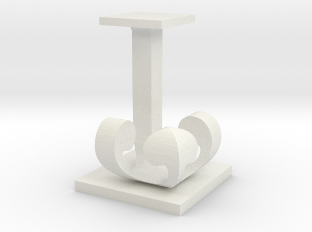 Two way letter / initial J&J in White Natural Versatile Plastic