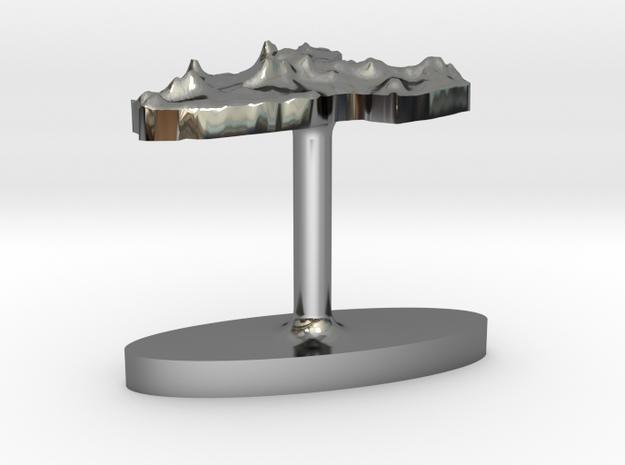 New Zealand North Island Terrain Cufflink - Flat 3d printed